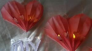 Herz Aus Papier Basteln : diy beleuchtetes 3d valentinstags herz party deko aus ~ Lizthompson.info Haus und Dekorationen