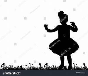 Silhouette Little Girl Walking Nature Stock Vector ...