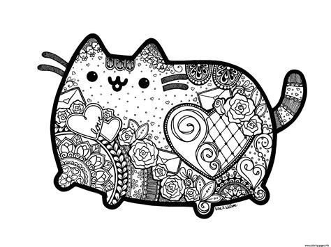 pusheen  cat adult inspired zentangle  mandala coloring pages printable