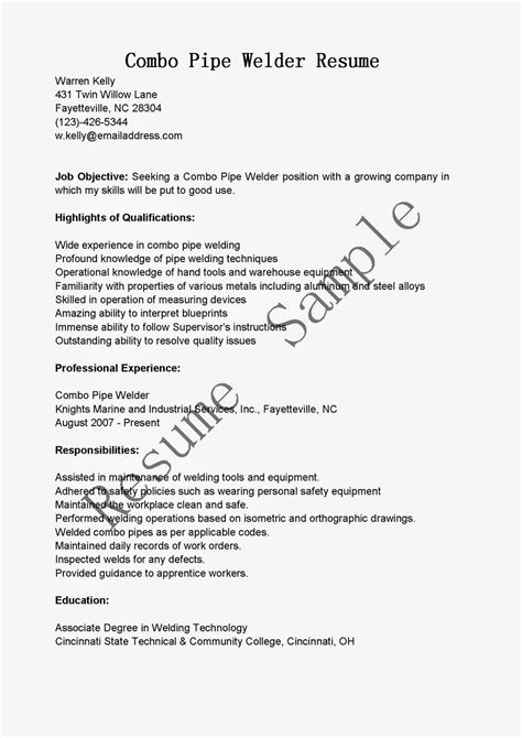 Resume Samples: Combo Pipe Welder Resume Sample