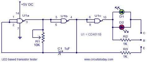 Led Based Transistor Tester Electronic Circuits