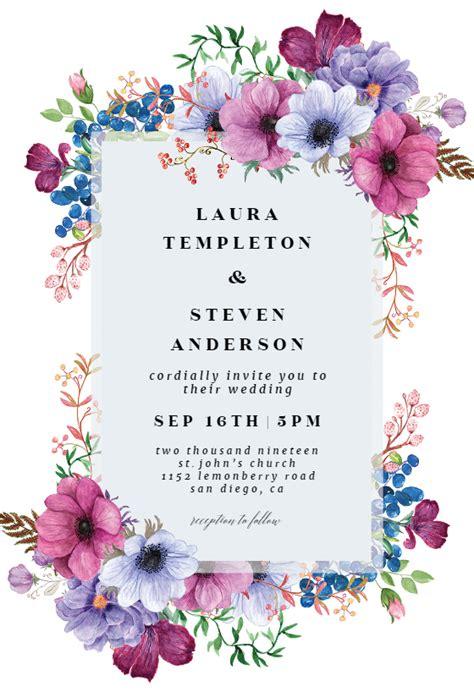 purple bouquet invitacion de boda gratis  island