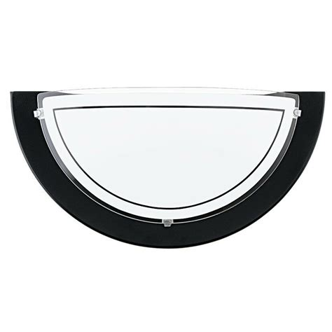 black metal wall light with frosted glass shade half