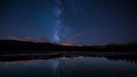 Night Nature Digital Art Lake Stars