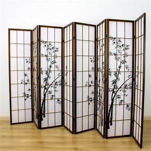 Zen, Garden, Room, Divider, Screen, Brown, 8, Panel
