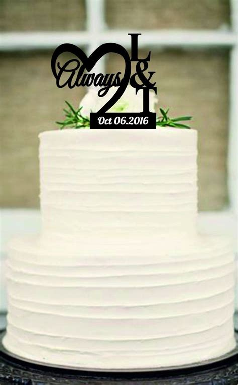Always Caketopper Rustic Wedding Cake Topper Monogram