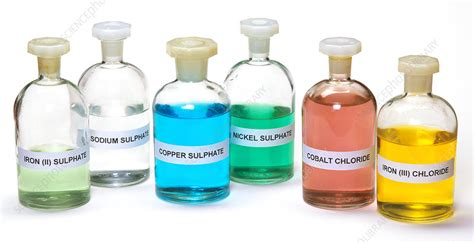 transition metal ion colours stock image  science photo library