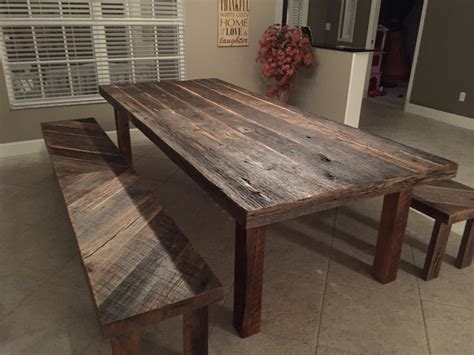 stacys rustic reclaimed wood dining table  matching