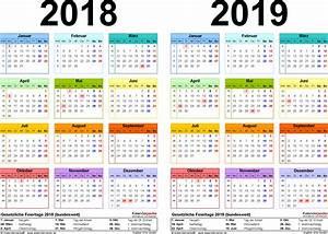 Jahreskalender 2018 2019 : zweijahreskalender 2018 2019 als pdf vorlagen zum ausdrucken ~ Jslefanu.com Haus und Dekorationen