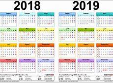 Zweijahreskalender 2018 & 2019 als PDFVorlagen zum Ausdrucken