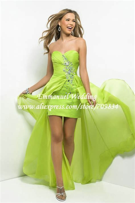 western style beaded sweetheart lime green chiffon prom