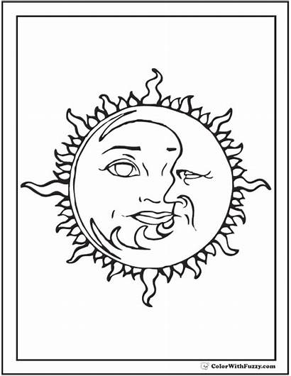 Moon Coloring Stars Pages Sun Star Printable