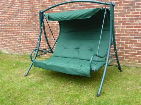 garden hammock swing green 3 seater garden swing seat hammock with cushions