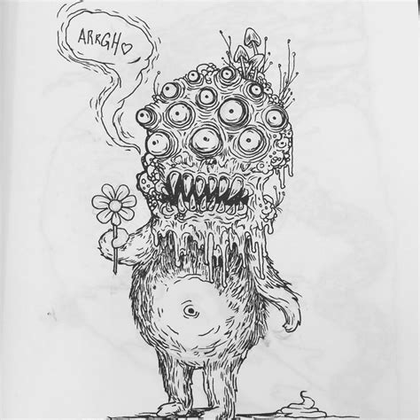 Creepy Little Drawings Self Portrait Art Monster
