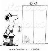 Elevator Cartoon Coloring Waiting Businessman Outlined Drawing sketch template