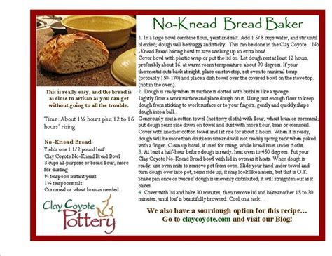 bread pottery knead bakers recipe clay recipes baker ceramic cards