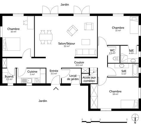 plan de maison 3 chambres plan maison 3 chambres et 2 salles de bain ooreka