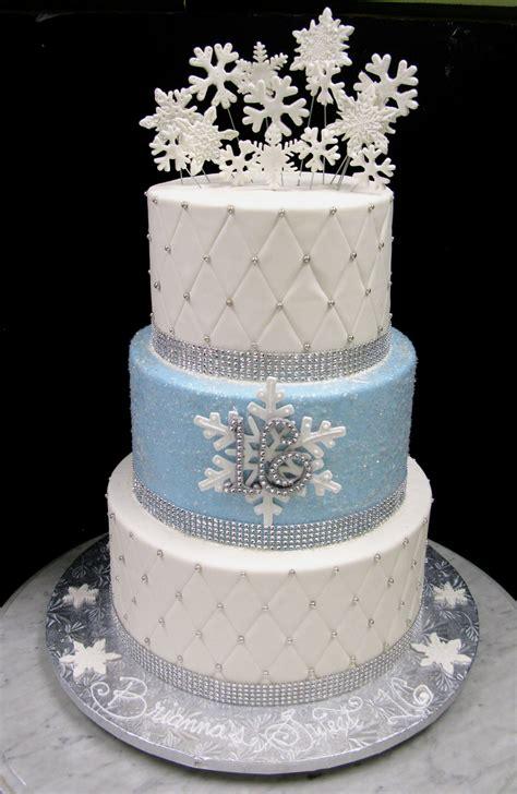 Winter Wonderland Snowflake Sweet 16 Birthday Cake Party
