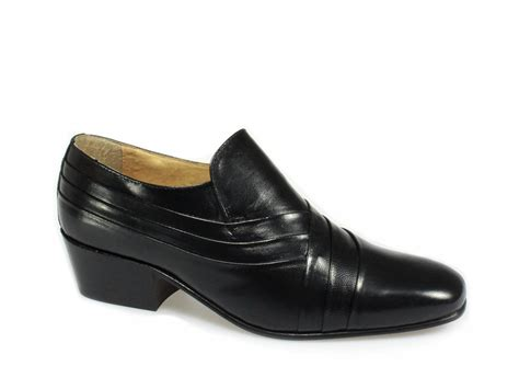 Hell Shoes : Mens Soft Leather Pleated Cuban High Heel Dress/dance