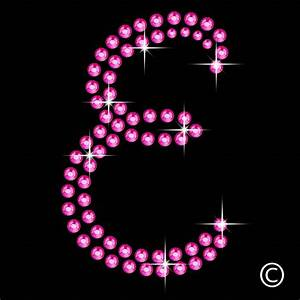 large letter e in pink iron on bling rhinestone transfer With large rhinestone iron on letters