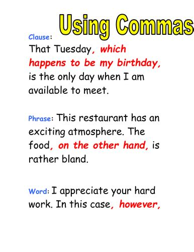 Using Commas In A List By Suscie  Teaching Resources Tes