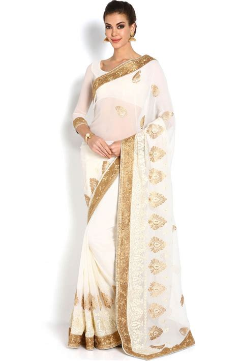 And Gold Sari soch white gold chiffon saree shopping 534727