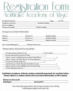 dance school registration form template free templates With dance school registration form template free