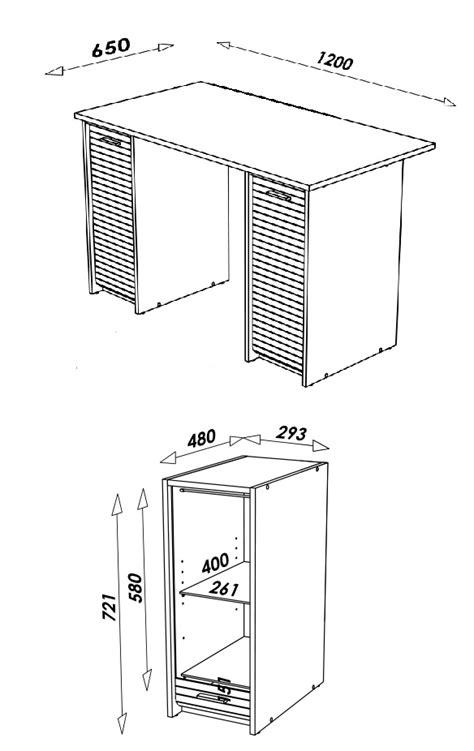 bureau blanc ou taupe avec caissons et rideau 4 coloris