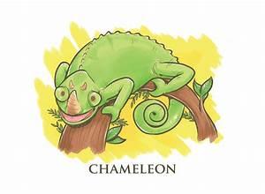 Chameleon, Cartoon, Illustration
