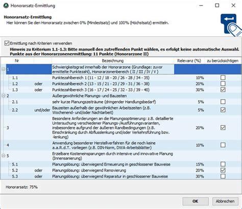 Hoai Honorarzone 3 Mittelsatz by Hoai Honorarermittlung Software Programm Pro Wesa