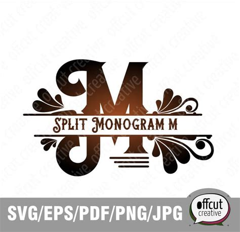 split monogram svg split letter  svg divided initial regal etsy