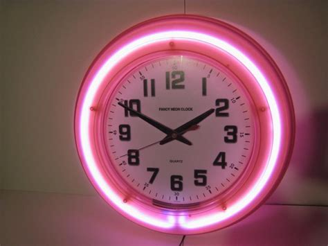 retro pink diner wall neon fancy clock 50s modern new 50