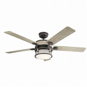 60 inch 5 blade led ceiling fan with light weathered zinc