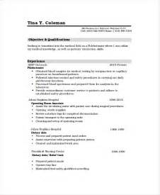 Free Phlebotomy Resume Exles by Phlebotomy Resume Template 6 Free Word Pdf Documents
