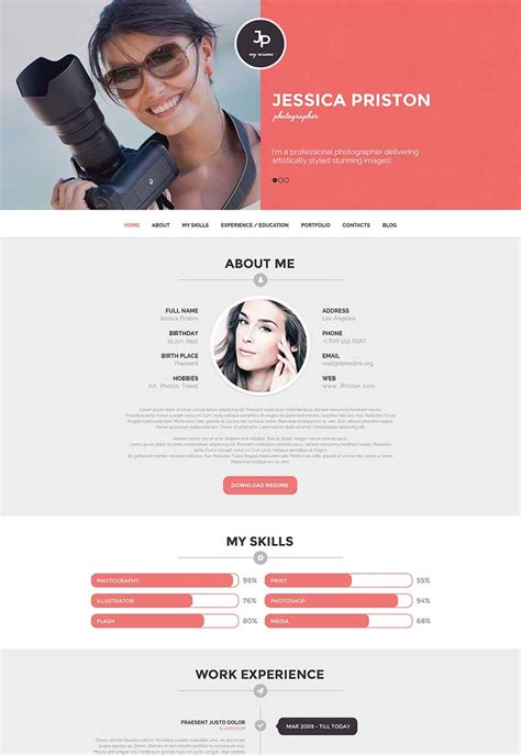 Photography Hobby Resume by Win A Free Photography Theme