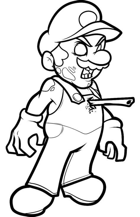 zombie mario coloring page all colored up pinterest