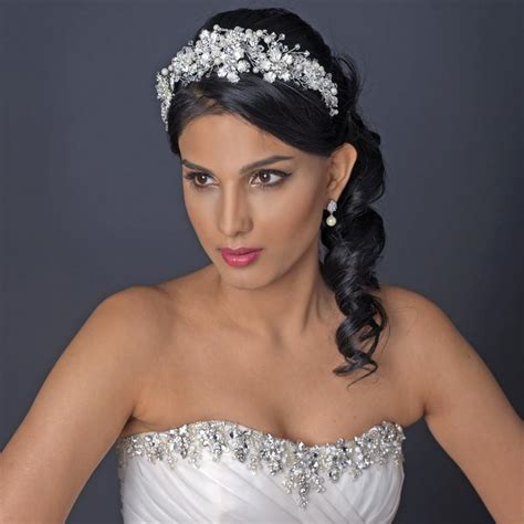 Bridal Headpiece with Frosted Flowers Pearls and Crystals ...