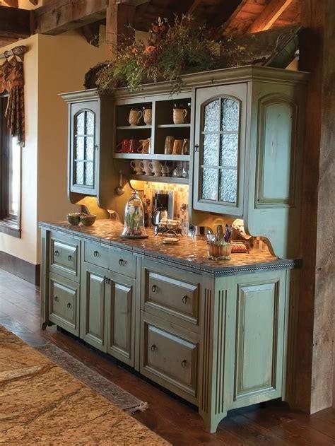 rustic kitchen love  green buffet cabinet