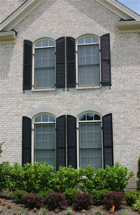 exterior radius arch custom louvered shutters advantage