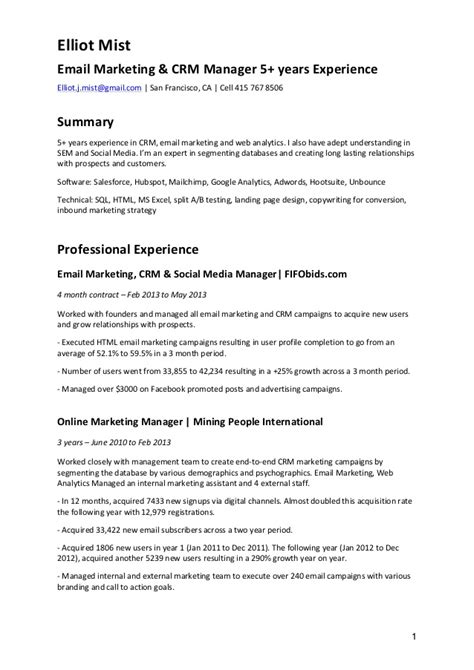 Database Management Experience Resume by Cv Email Marketing Crm