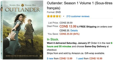 Amazon Canada Deals Of The Day Save 64% On Outlander