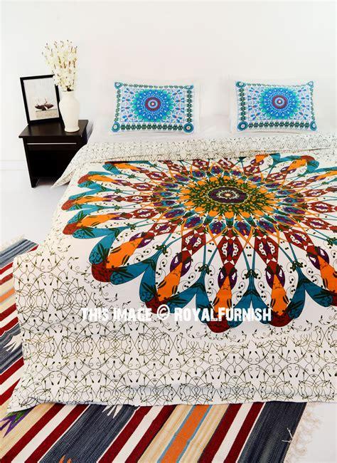 brown white multi trippy boho mandala bedding duvet