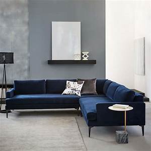 Andes l shaped sectional living rooms room and interiors for Sectional sofa bed west elm