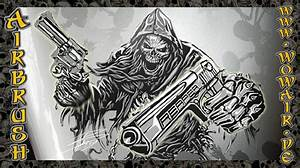 "Airbrush by Wow No.423 ""Ultimate Reaper Stencil Set Guns 1 ..."