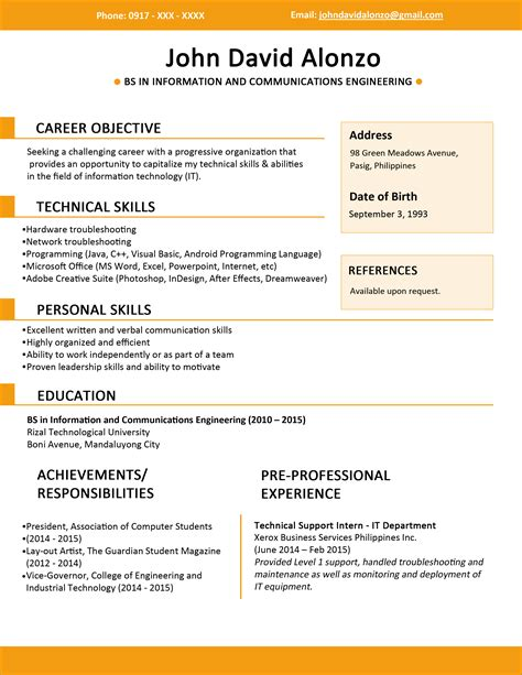 basic resume exles 2017 philippines resume templates you can download jobstreet philippines