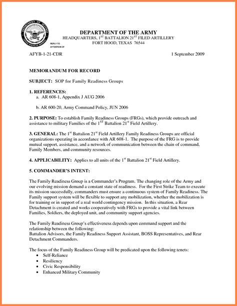 memorandum for the record template memorandum format army exles and forms