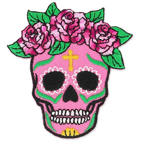 hotfix applikation calavera 50x54mm mexikanischer rosa