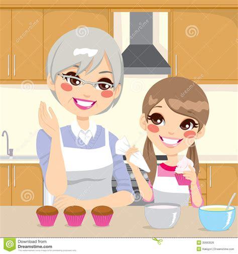 la cuisine des filles fille de enseignement de grand mère dans la cuisine