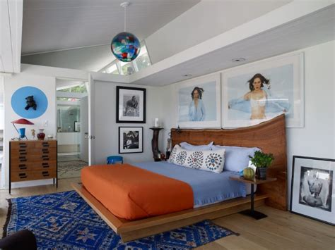 pics of bedroom colors 14 charming bedrooms with wood floor design master 16646 | Colorful bedroom design with blue and orange by Trip Haenisch
