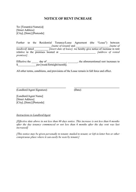 30 day notice of rent increase form 20 fresh template letter rent increase uk images